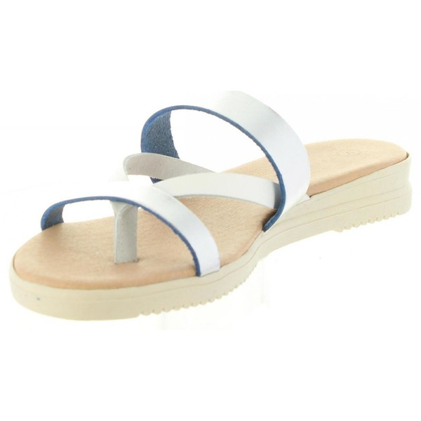 Sandalia piel mujer - plateado
