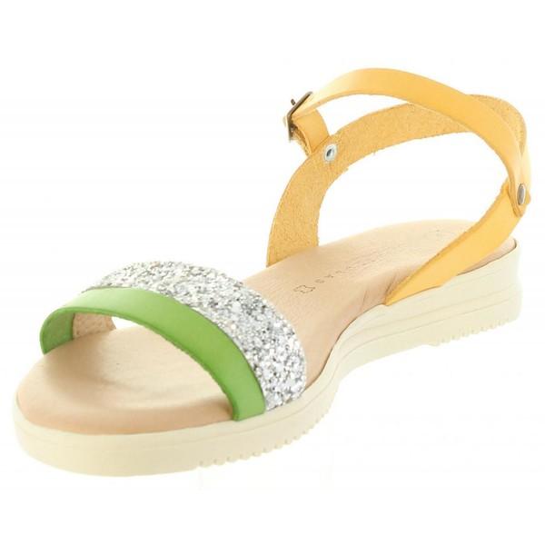 Sandalia piel mujer - verde