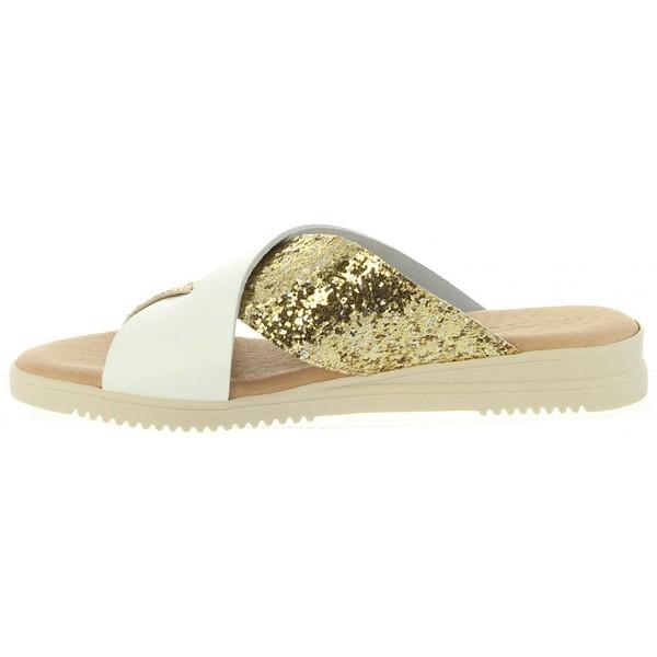 Sandalias planas mujer piel - platino