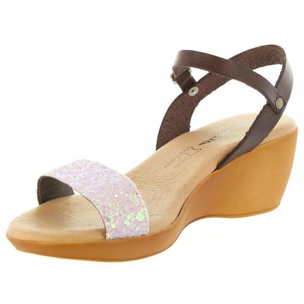 Sandalia cuña piel mujer - rosa