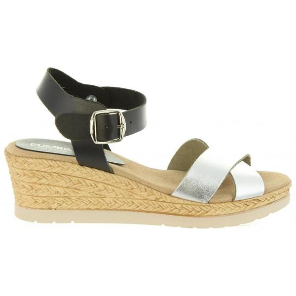 Sandalias cuña mujer - plata