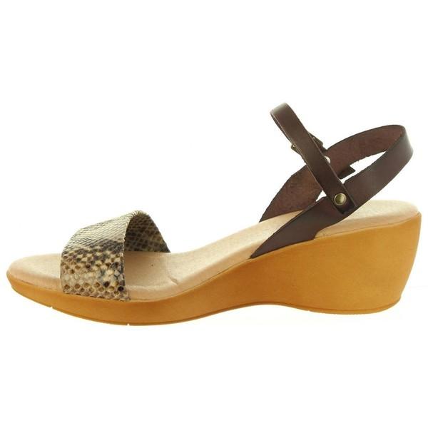 Sandalias cuña mujer - taupe