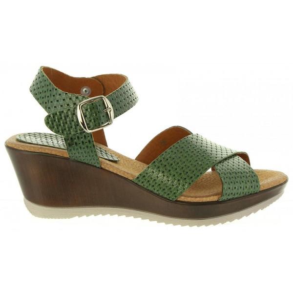 Sandalias cuña mujer - verde