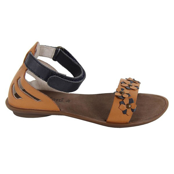 Sandalia piel junior - camel/marino