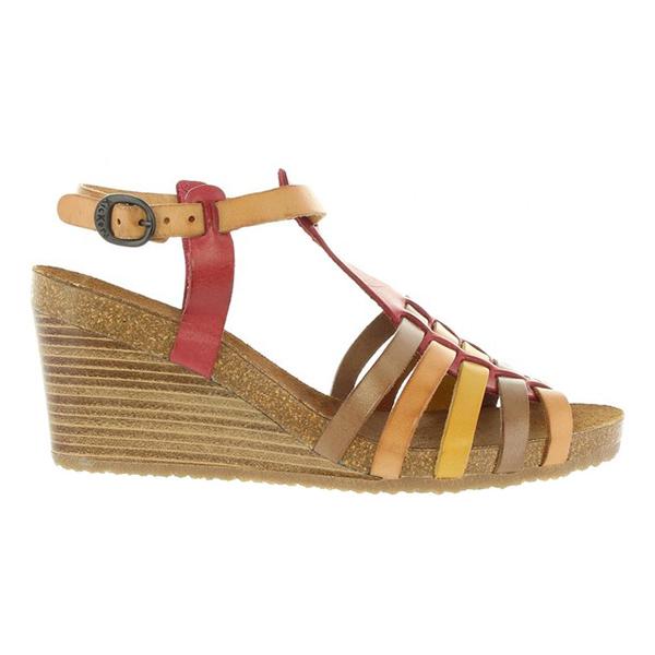 Sandalias cuña mujer piel - multicolor
