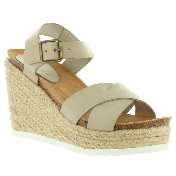 Sandalias cuña mujer piel - blanco roto