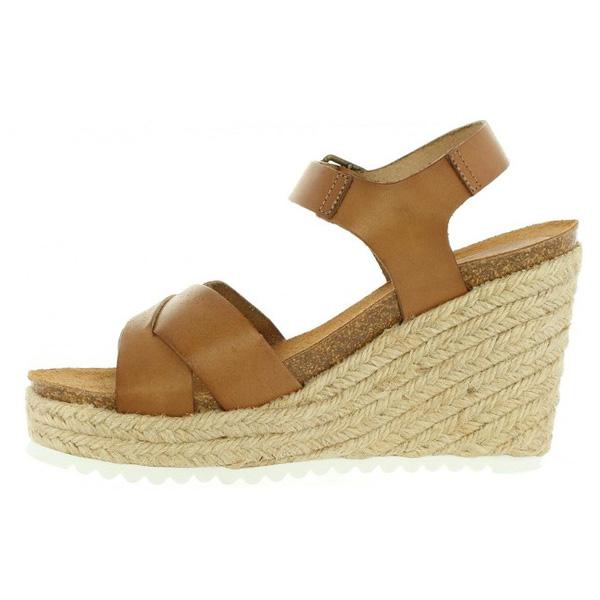 Sandalias cuña mujer piel - marrón