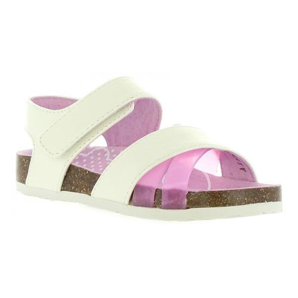 Sandalia junior piel - blanco/rosa