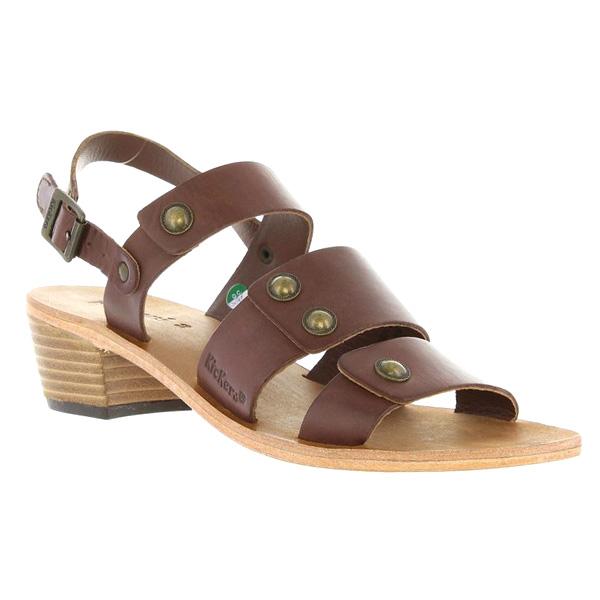 Sandalias tacón mujer piel - marrón
