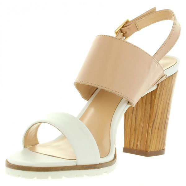 9cm Sandalias tacón mujer piel - blanco/beige