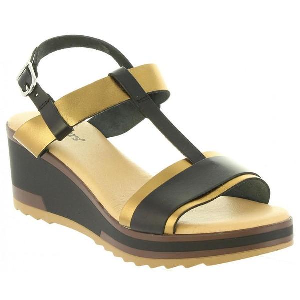 Sandalias cuña mujer - negro
