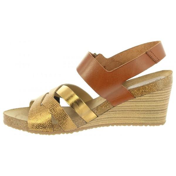 Sandalias cuña mujer piel - bronce