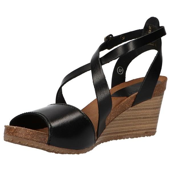 7cm Sandalia piel cuña mujer - negro