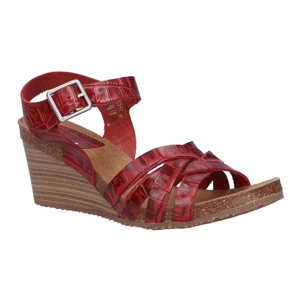 7cm Sandalia cuña piel mujer - rojo
