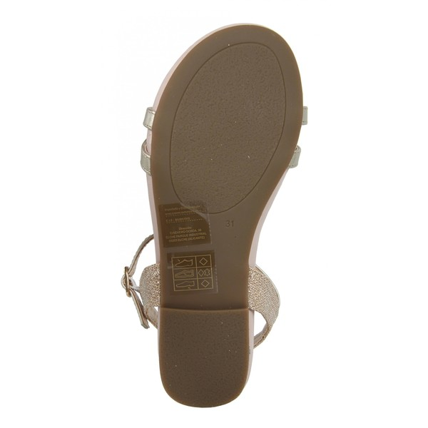 Sandalias planas infantil - platino/dorado