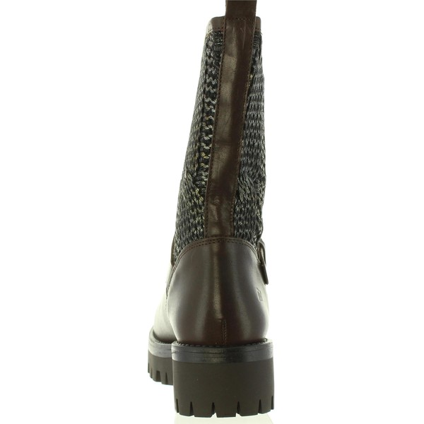 5cm Bota tacón piel/textil mujer - marrón