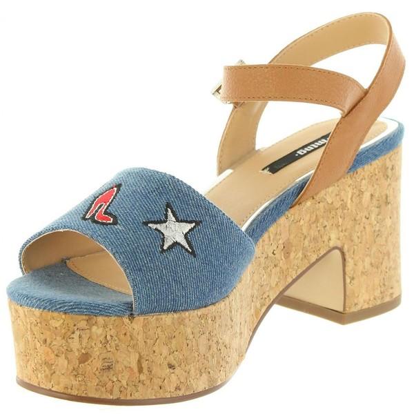 9cm Sandalia tacón mujer piel - azul