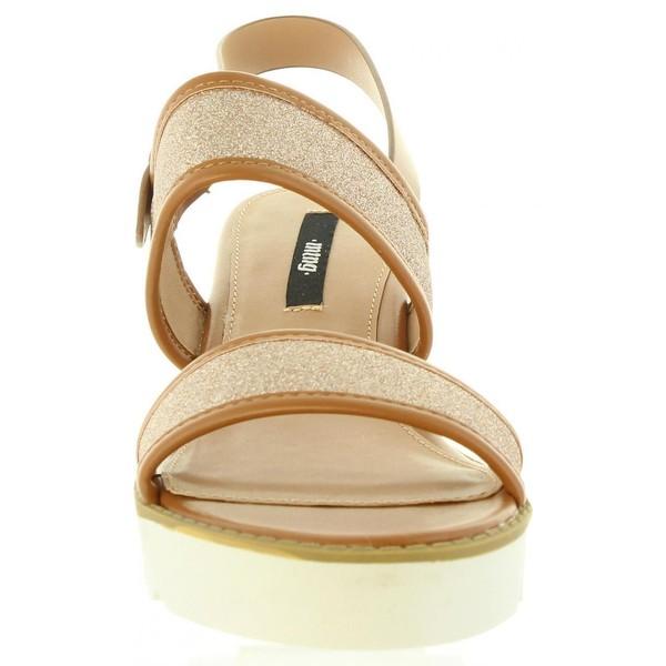 Sandalias planas mujer - champán