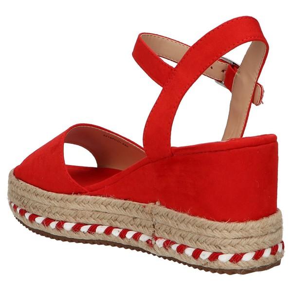 7cm Sandalia cuña mujer - rojo