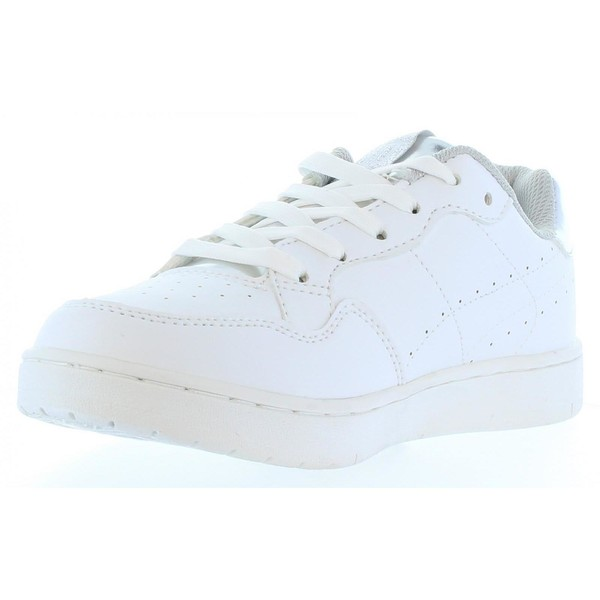 Sneaker plana mujer - blanco/plateado