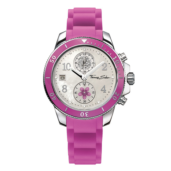 Reloj cronógrafo caucho mujer - lila