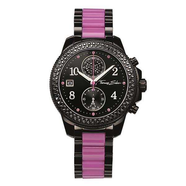 Reloj mujer cronógrafo acero - negro/morado