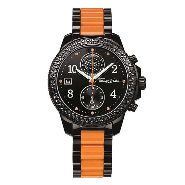 Reloj mujer cronógrafo acero - negro/naranja