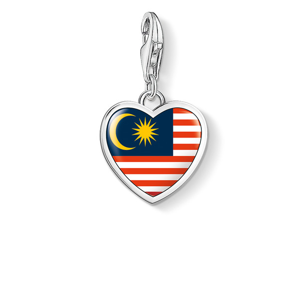 Abalorio de mujer plata - bandera corazón