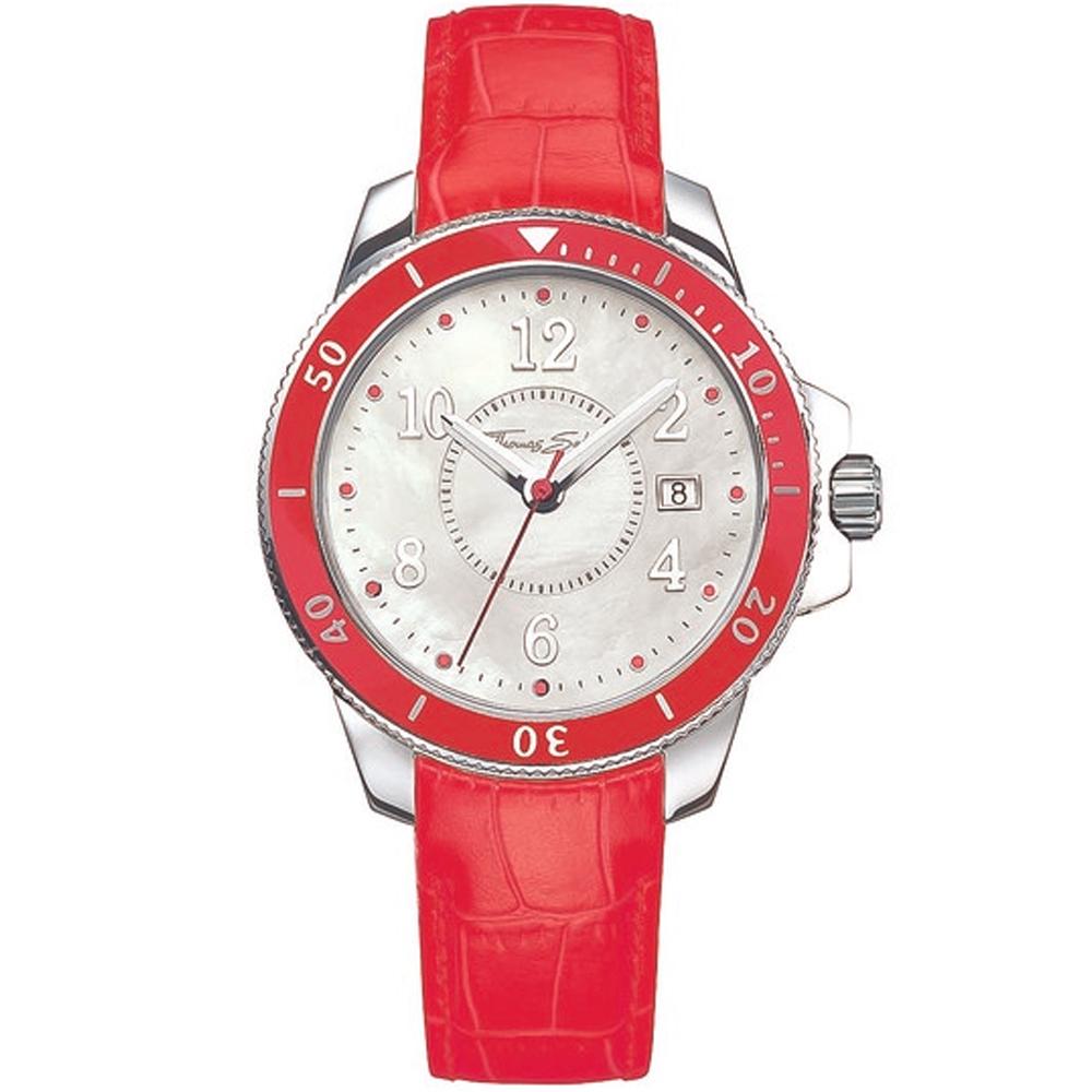 Reloj analógico unisex piel - rojo