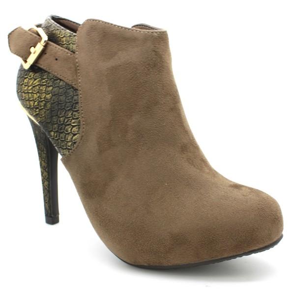 10cm Botín tacón mujer - camel