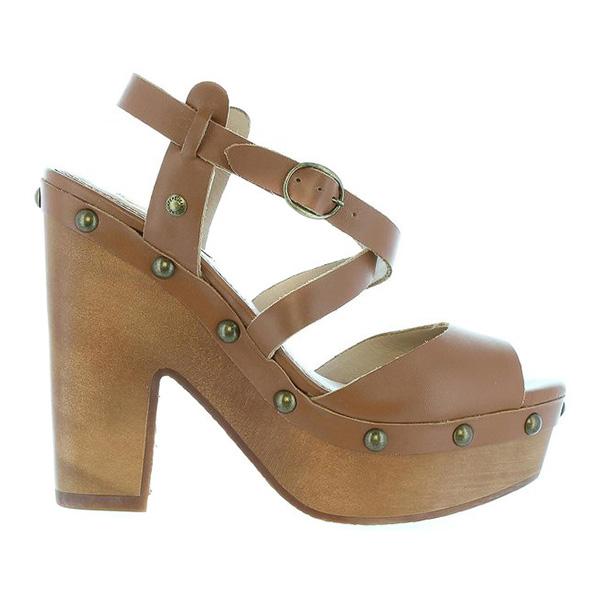 13cm Sandalia tacón mujer piel - marrón