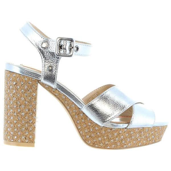 Sandalias tacón mujer - plateado
