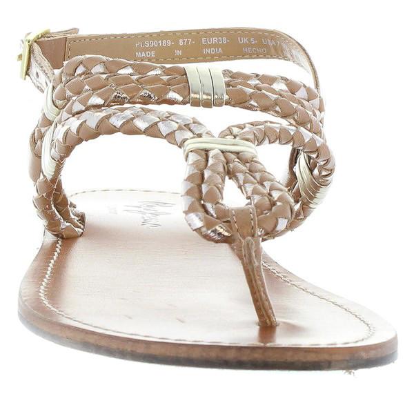 Sandalias planas mujer piel - marrón