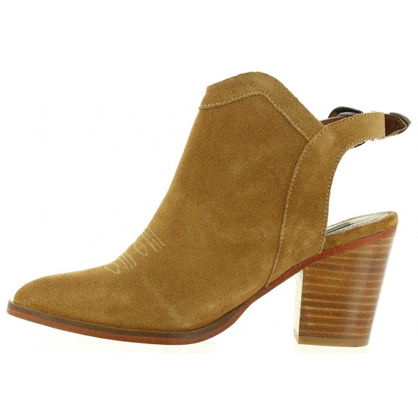 Zapato tacón piel mujer - marrón
