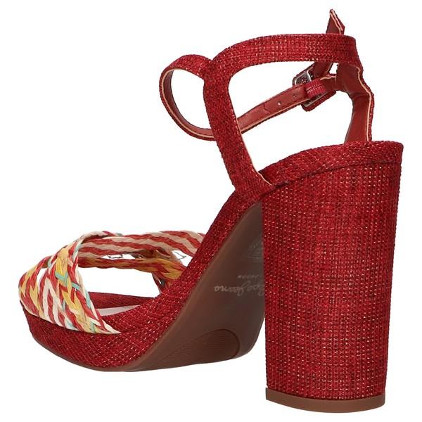 11cm Sandalia tacón mujer - rojo