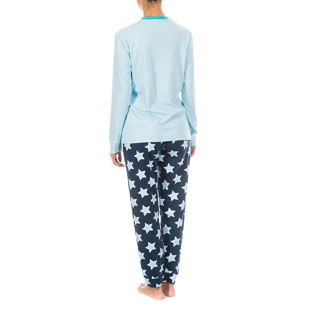 Pijama /larga - celeste/marino/estrellas