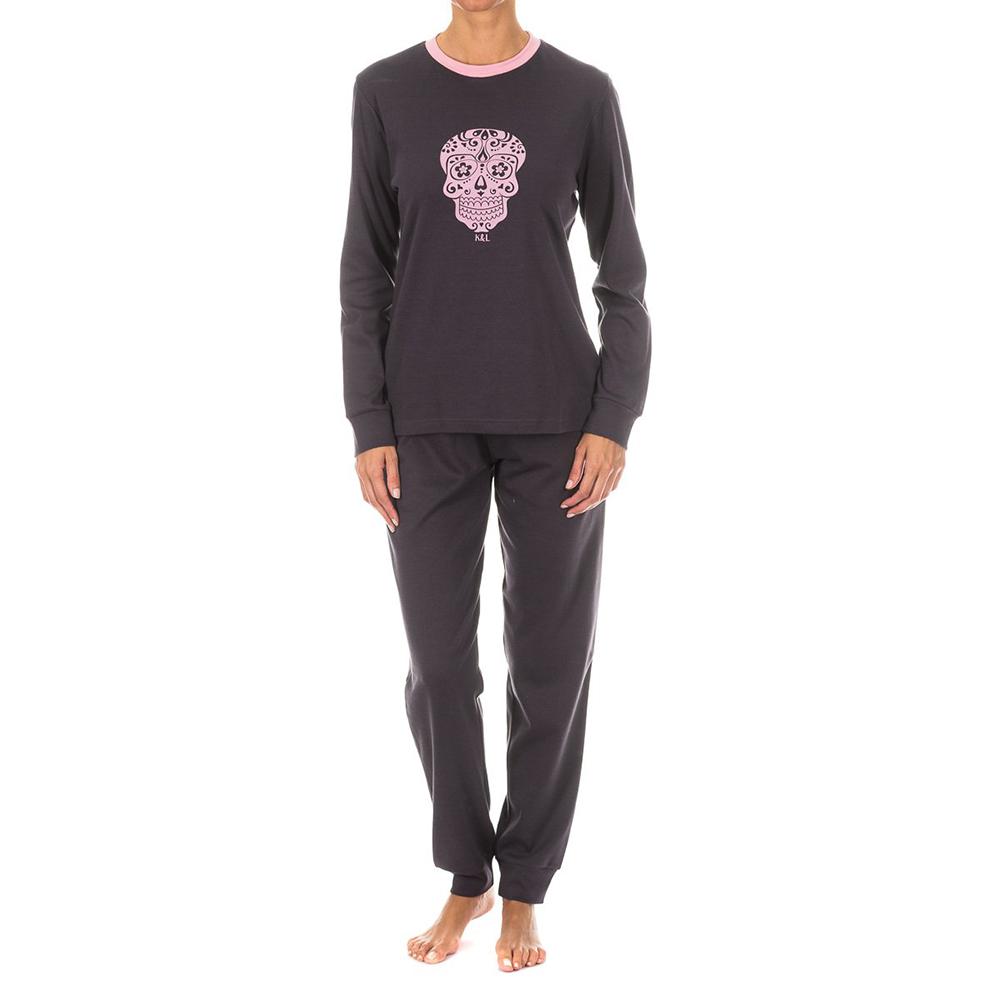 Pijama sra. m/larga - antracita/rosa