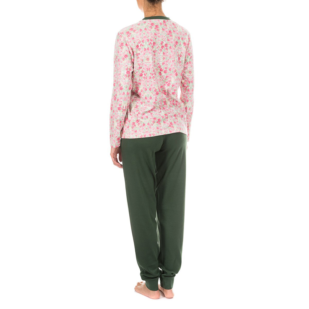 Pijama /larga - floral/verde oscuro