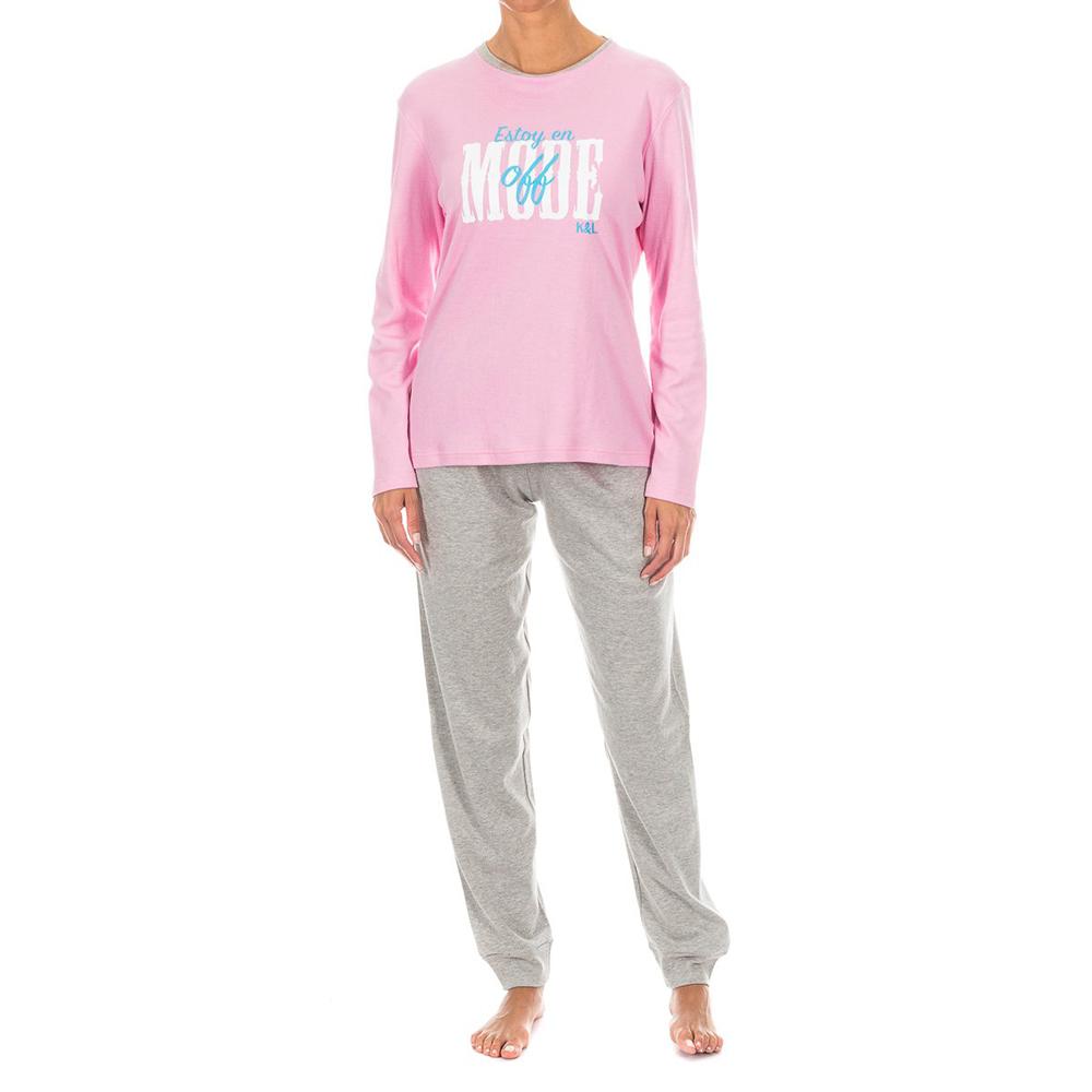 Pijama /larga - rosa/gris