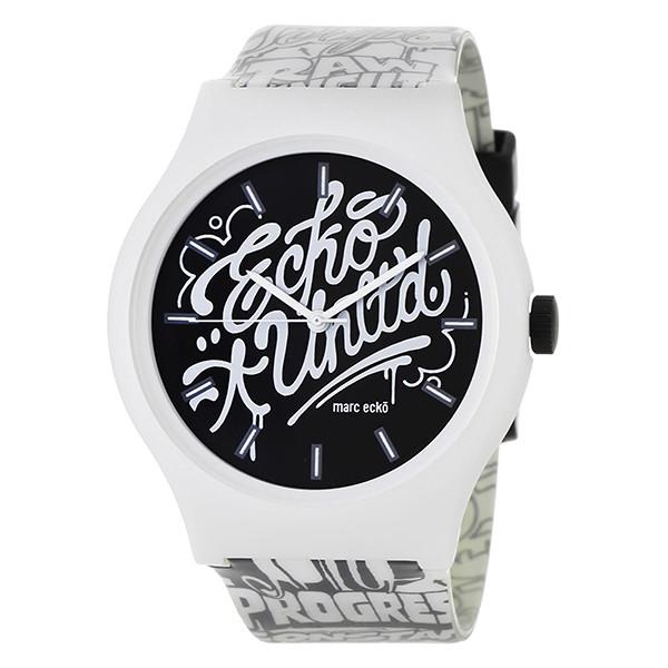 Reloj analógico caucho hombre - blanco/negro