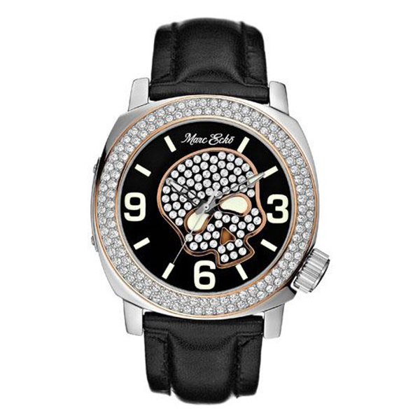Reloj analógico acero/swarovski mujer - negro