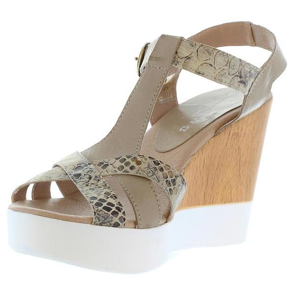 Sandalias cuña mujer piel - oliva