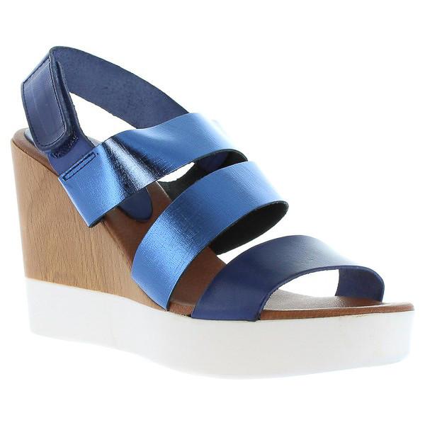 Sandalias cuña mujer piel - azul