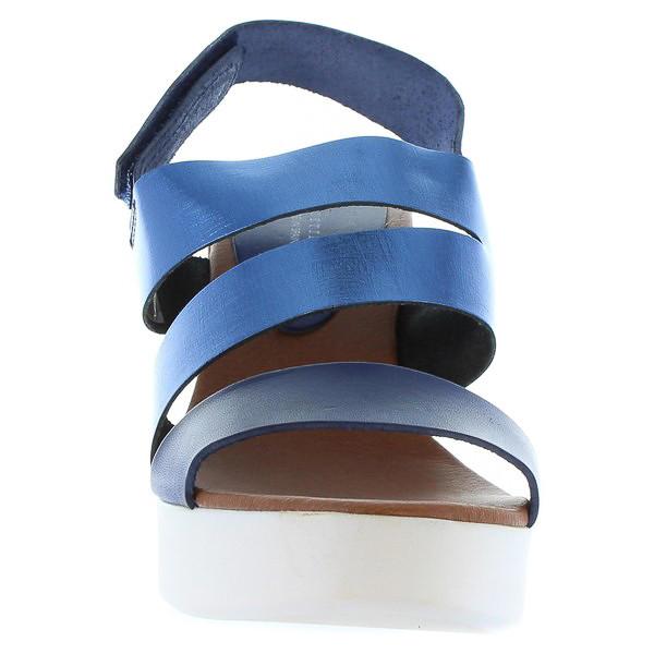 Sandalia cuña piel mujer - azul