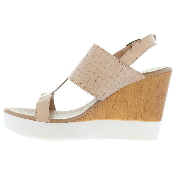 Sandalia cuña piel mujer - beige