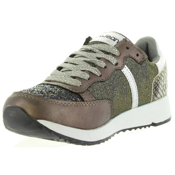Sneaker piel infantil/junior - taupe