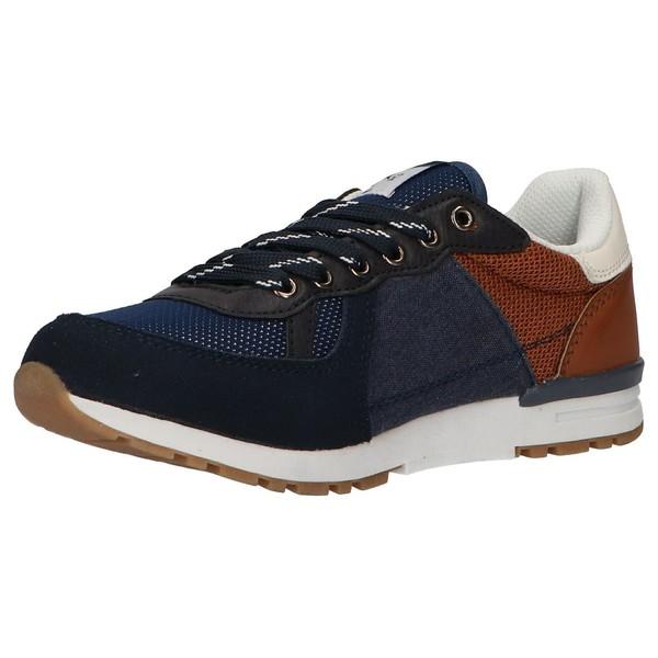 Sneaker piel infantil/junior - azul