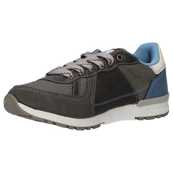 Sneaker piel infantil/junior - gris