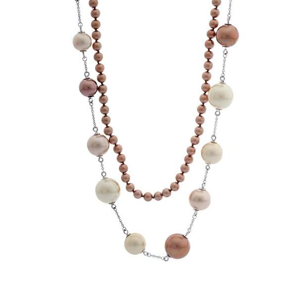 Collar plata mujer - marrón