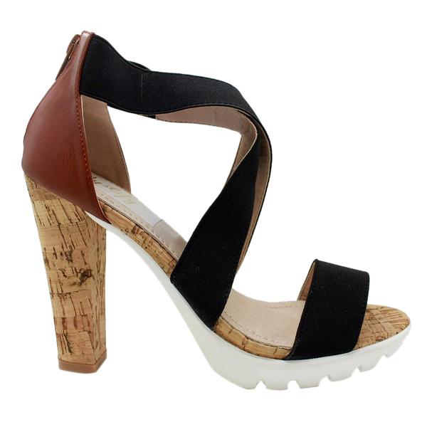 9cm Sandalia tacón mujer - negro/marrón